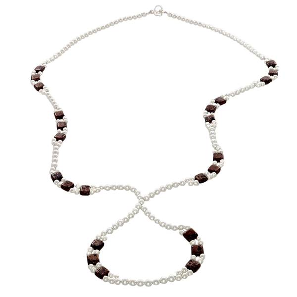 "Brown Crystal & Sterling Silver Beads on an ""S"" Shaped Necklace - Finesse Jewelry"