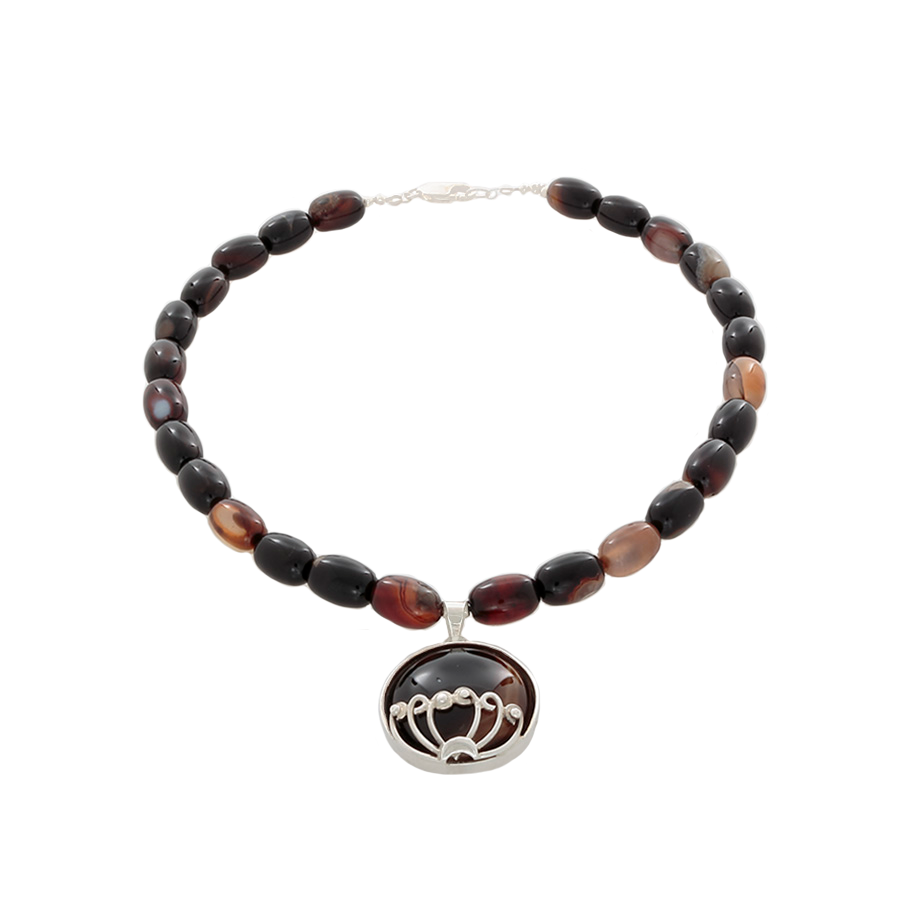 Brown Agate beads with a Brown agate pendant Necklace on Sterling - Finesse Jewelry