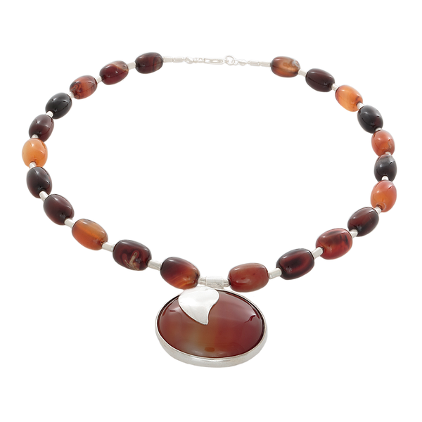 Brown Fire Agate necklace with Pendant - Finesse Jewelry