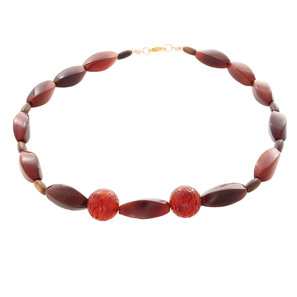Brown Amber Rectangular Tube beads with 2 carved beads-Necklace - Finesse Jewelry