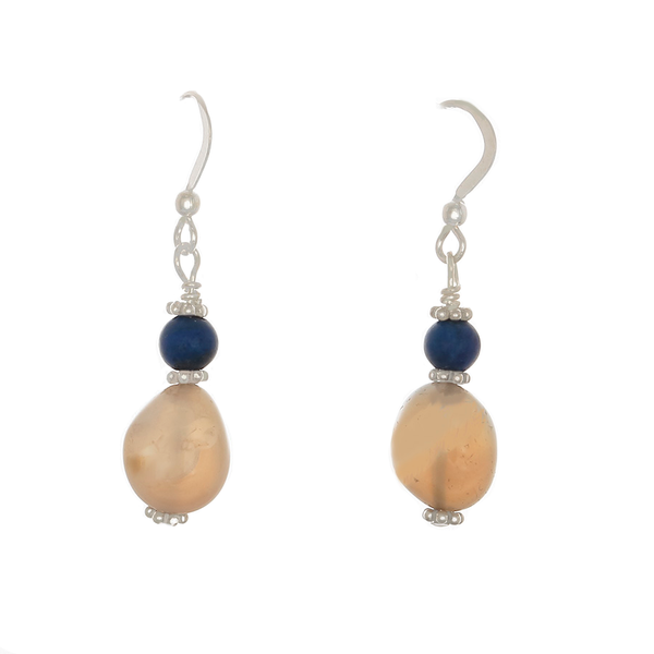 Blue Calcedony, Lapis & silver Earrings - Finesse Jewelry