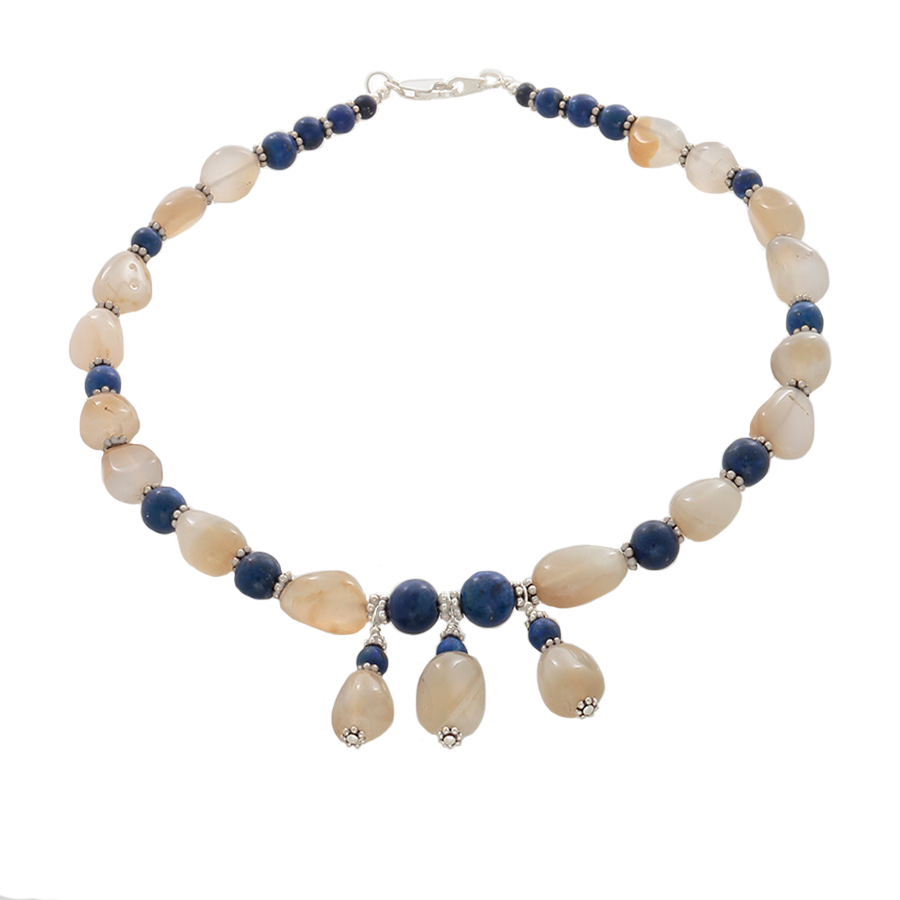 Calcedony, Lapis & Silver Necklace - Finesse Jewelry