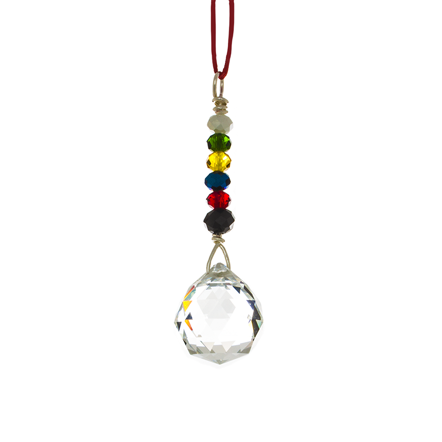 Hanging Crystal for Protection/Safety in the Car - 6 True Colors -Feng Shui -  20 mm - Finesse Jewelry