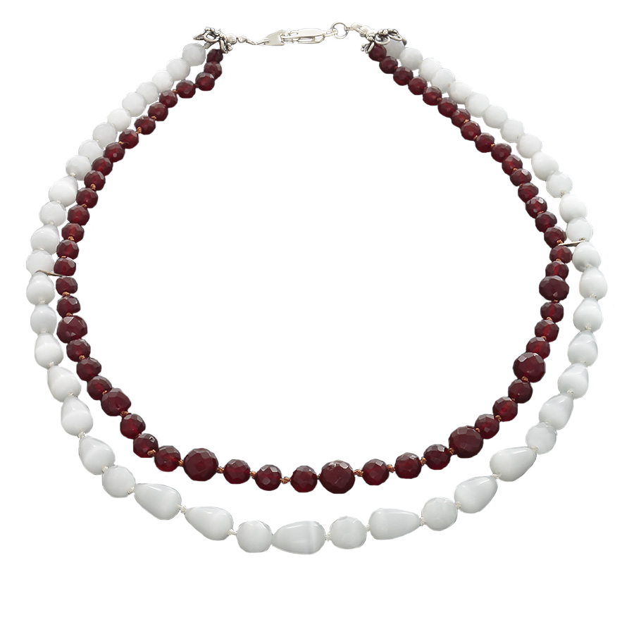 Ulexite & Carnelian Double Stranded Necklace with Sterling silver lobster clasp - Finesse Jewelry