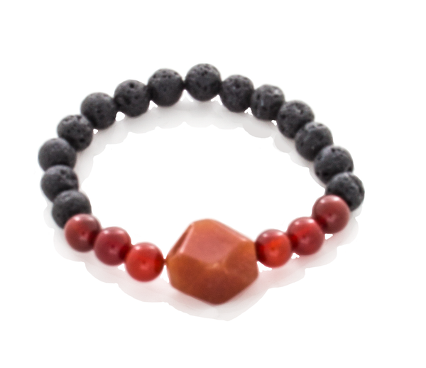 Carnelian Round and Trapazoid, Lava Beaded Stretch Infusion Bracelet for Men or Women - Finesse Jewelry
