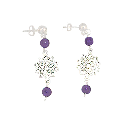 Amethyst Crown Chakra Earrings with Sahasvara Symbol in Antigue Silver