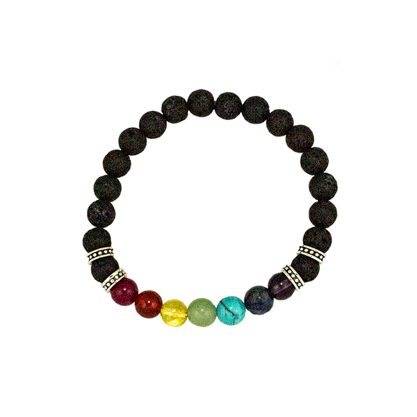 Lava and Chakra Bead Stretch Infusion Bracelet for Men or Women