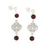 Garnet Root Chakra (Muladhara Symbol) Earrings in Antique Silver