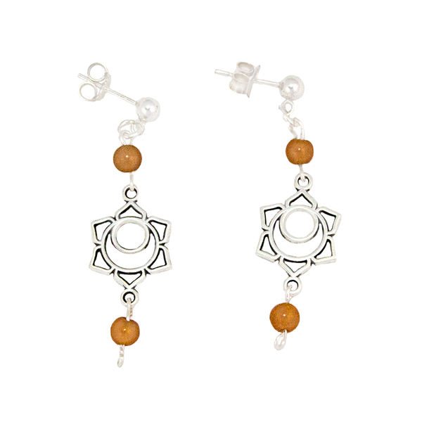 Carnelian Sacral Chakra Earrings in Antique Silver