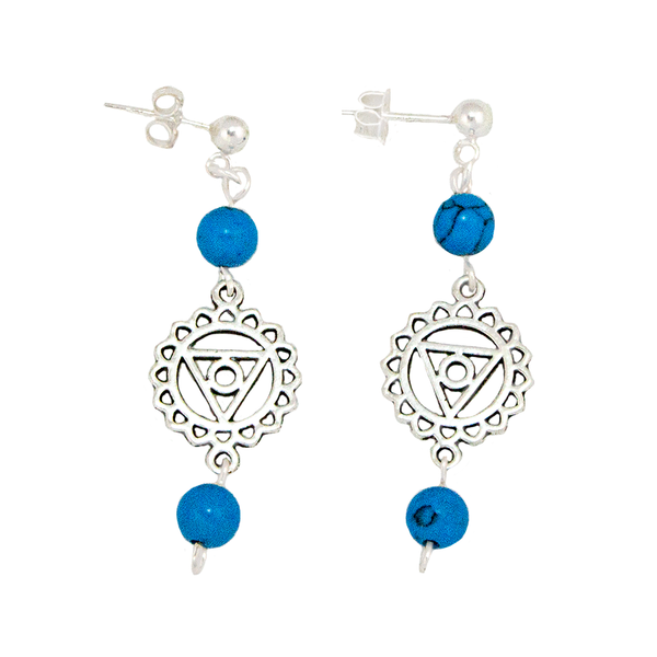 Turquoise Throat Chakra Earrings in Antique Stiler