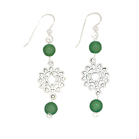 Green Aventurine Heart Chakra (Anahata Symbol) Earrings