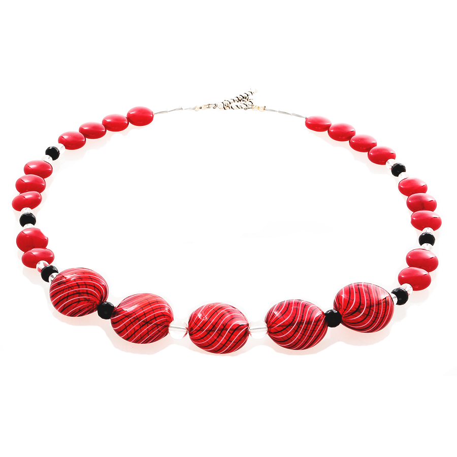 Cherry Quartz and Blown Glass in red with black striped Necklace - Finesse Jewelry