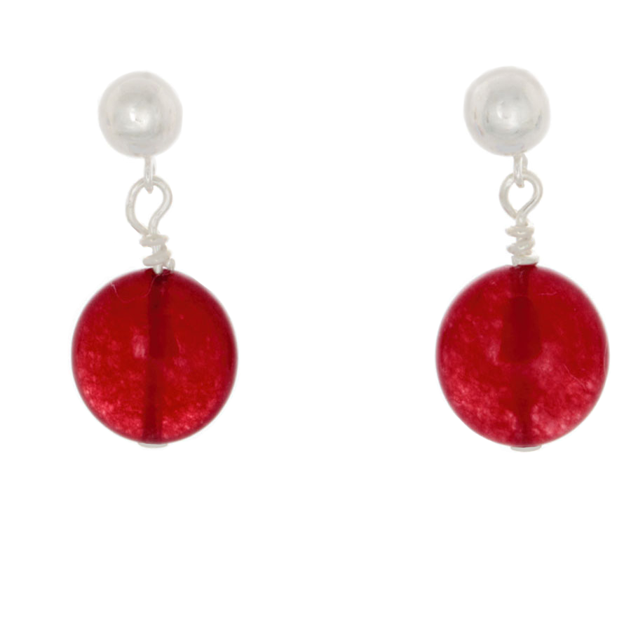 "Cherry Quartz ""Coin"" in silver Post Earrings - Finesse Jewelry"