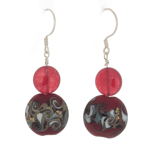 Cherry Quartz and Ruby Multi-patterned French Hook Earrings - Finesse Jewelry