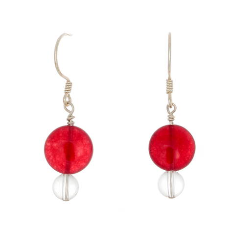 Cherry & Clear Quartz French Wire  Earrings - Finesse Jewelry