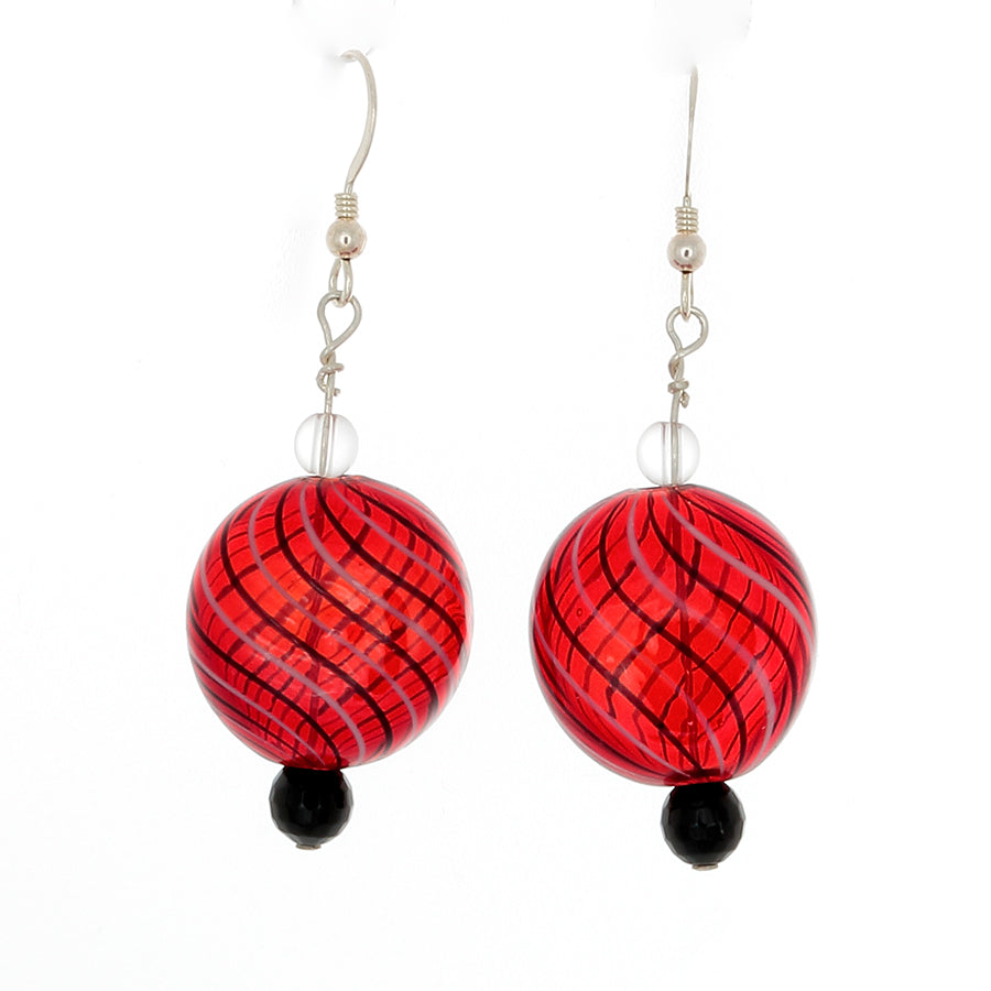 Cherry Red with Black Stripes Blown Glass Earrings in Sterling Silver - Finesse Jewelry