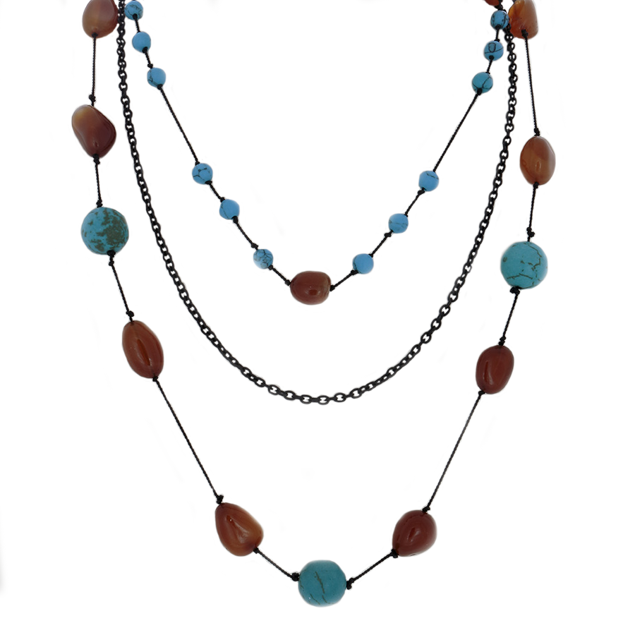 3-Strand Necklace: hand-tied citrine nuggets and turquoise beads and black chain - Finesse Jewelry