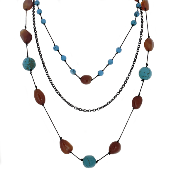 3-Strand Necklace: hand-tied citrine nuggets and turquoise beads and black chain
