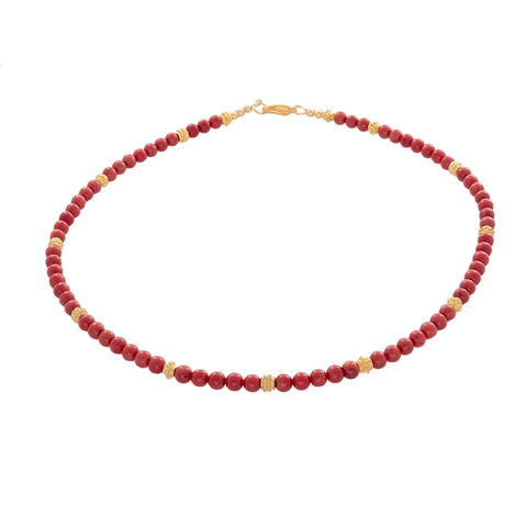 Coral & gold-tone Bali Beaded Necklace - Finesse Jewelry