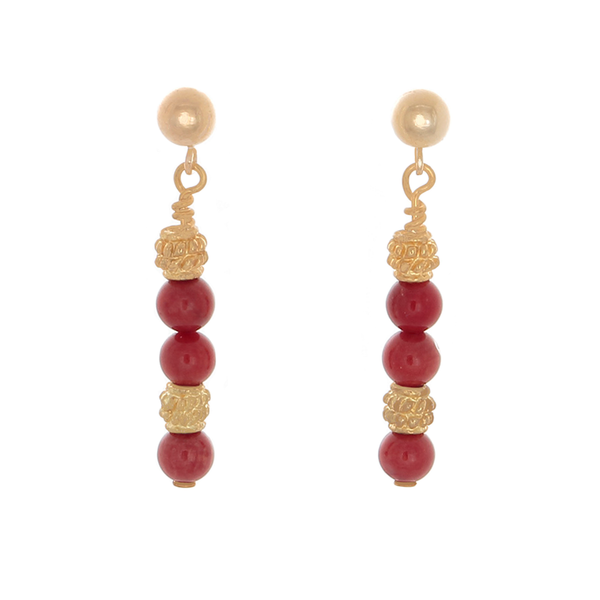 Coral & gold-tone Bali beaded earrings - Finesse Jewelry