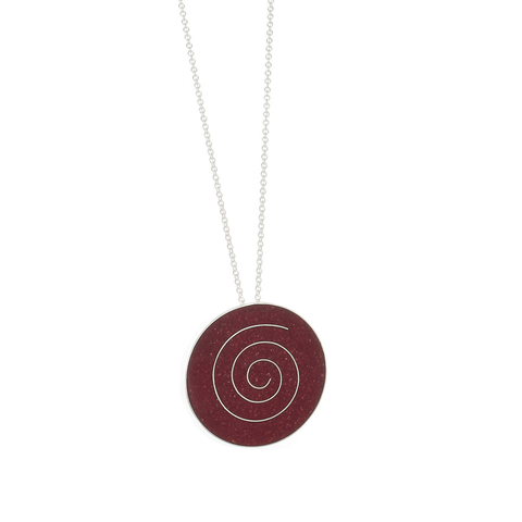 Red Coral Pendant Necklace inlaid with a Sterling Silver Spiral - Finesse Jewelry
