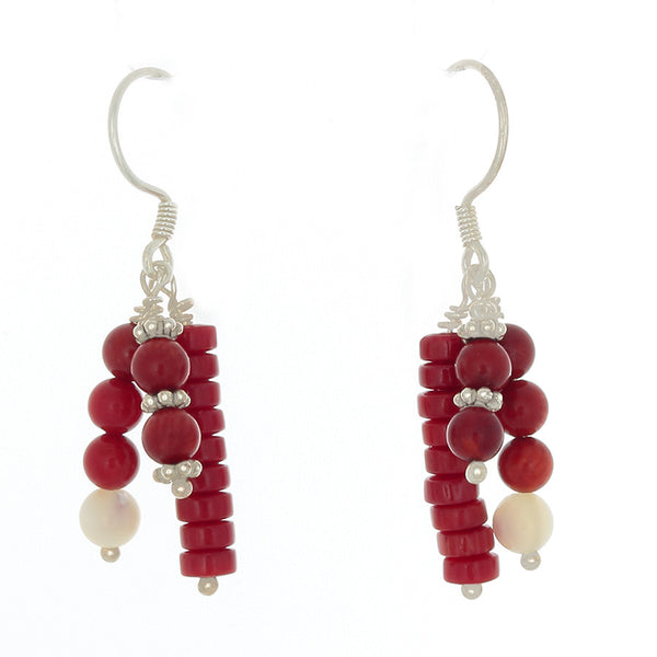 Coral & Ulexite 3-drop Earrings on Sterling French Hooks - Finesse Jewelry