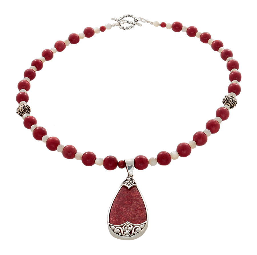 Coral and Cream Ulexite Necklace with Coral and silver pendant - Finesse Jewelry