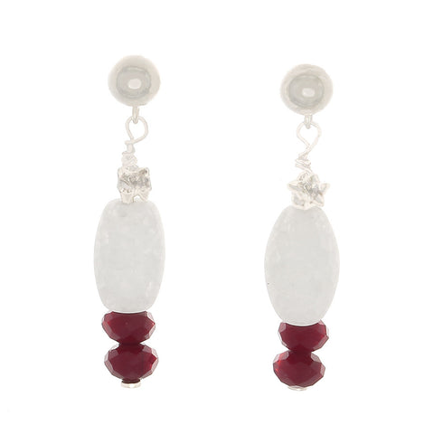 Cracked White Quartz and Wine Crystal Earrings - Finesse Jewelry
