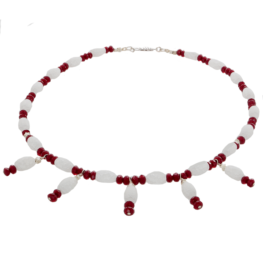 Cracked White Quartz and Wine Crystal Necklace