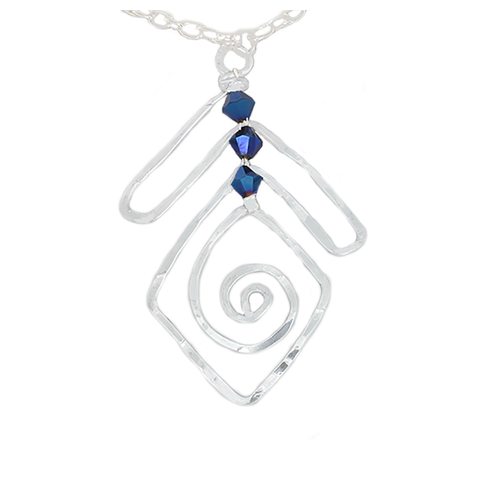 Silver Triangle Abstract Necklace with AB Blue Crystal beads