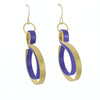 Curve Wave in Gold (with secondary color: black, purple, blue, copper, brown)- French Hook Earrings
