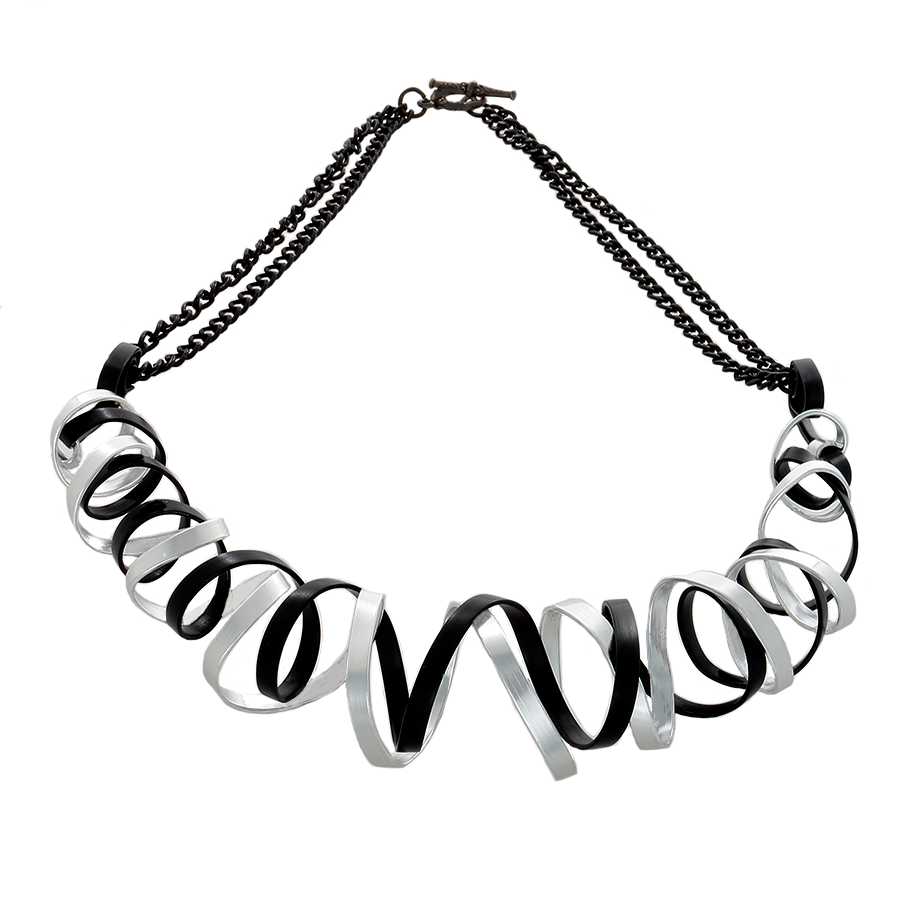 Curve Wave Wire Necklace in Black and Silver - Finesse Jewelry