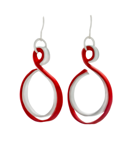 Curve Red and Silver (with secondary color: Silver, gold, purple, blue, copper) on French Hook  Earrings