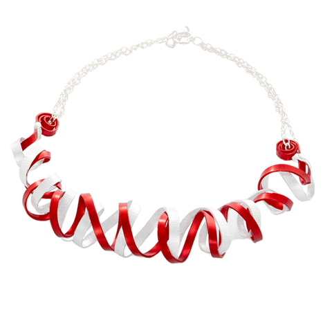 Curve Wave Statement Necklace in Silver and Red