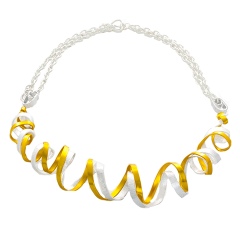 Curve Wave Staement Necklace in Silver and Gold