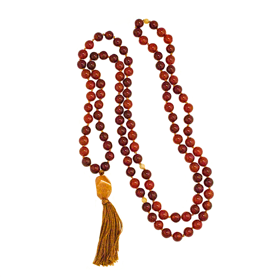 Mala 108-Bead Hand-Knotted in either: Carnelian, Citrine