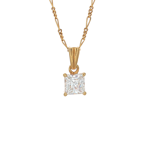 Desert Diamond Princess Cut Pendant Necklace - 1 1/2 carat - 18k gold