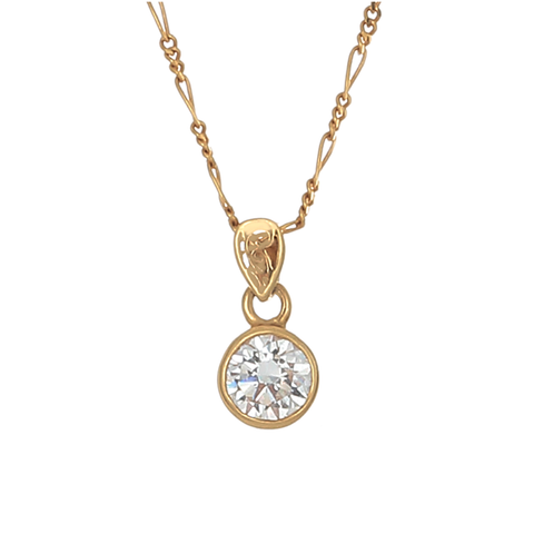Desert Diamond Round Bezel Set Pendant -  1 1/2 c - 18k gold - Finesse Jewelry