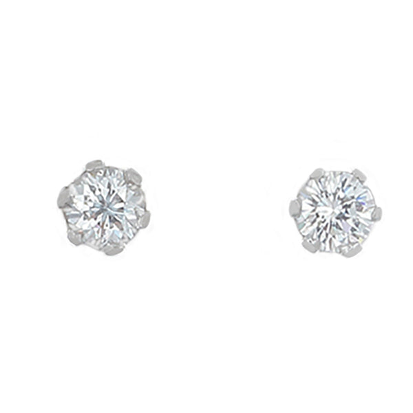 Desert Diamond round stud earrings set in white gold - 1/2 tcw