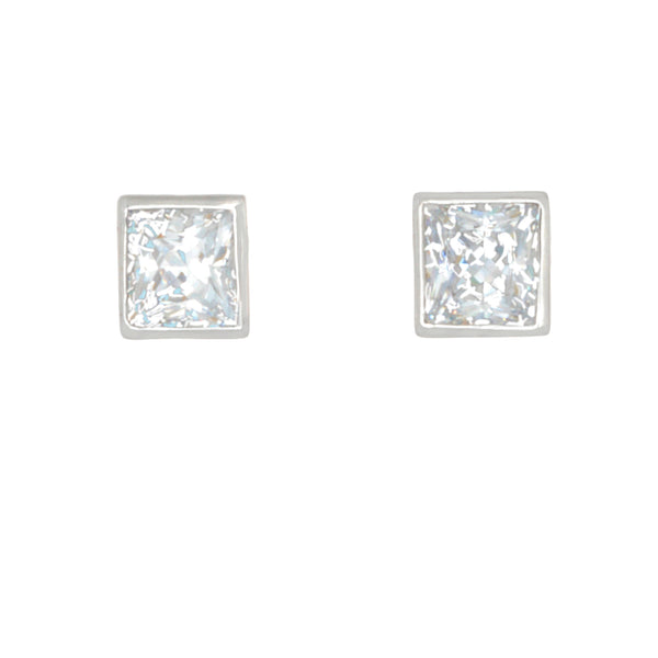 Desert Diamond 4 tcw Princess Cut stud earrings bezel set in 18k white gold - Finesse Jewelry