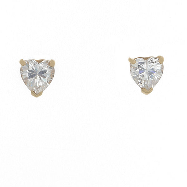 Desert Diamond Heart Shaped Stud Earrings in 18k solid gold - Finesse Jewelry