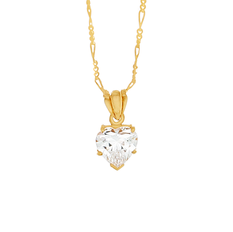 Desert Diamond Heart Shaped Pendant Necklace - 18k gold