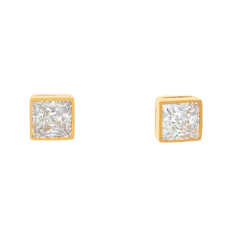 Desert Diamond, Princess Cut, 3 tcw, Bezel Set - 18k Gold Post Earrings