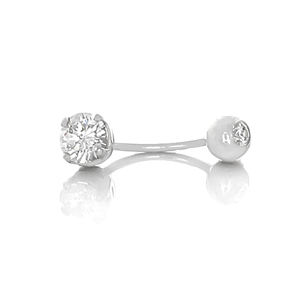 Desert Diamond Belly ring - 2c main stone + 1/2c secondary stone - 18k white gold - Finesse Jewelry