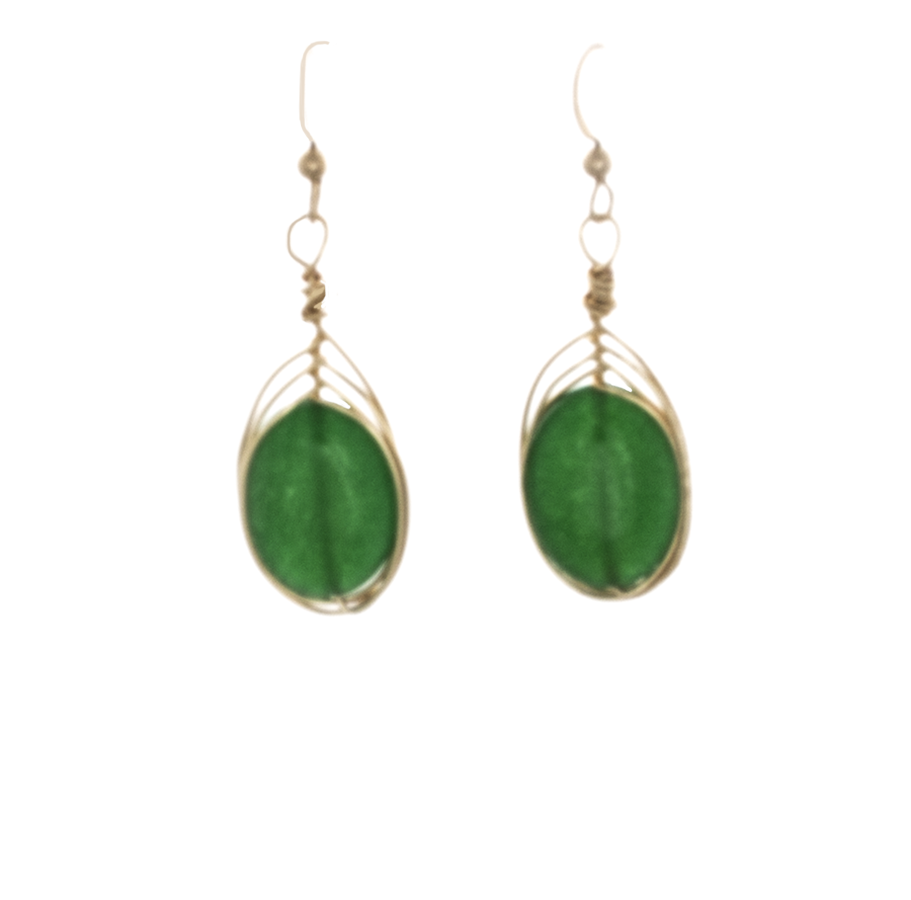 Emerald Green Agate Earrings wrapped in gold on 14k gold French hooks