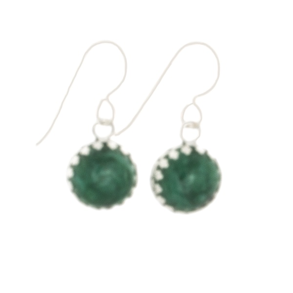 Emerald Earrings set in Argentium Silver on French Hooks