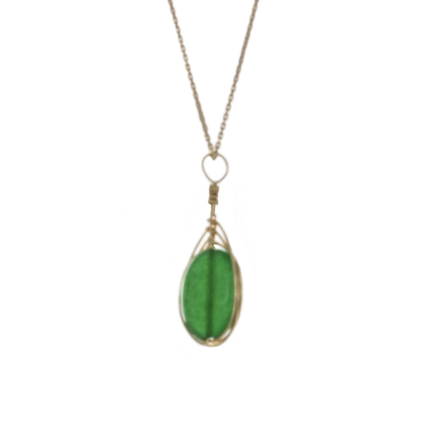 Emerald Green Agate Pendant Wrapped in gold on 14kt gold chain Necklace - Finesse Jewelry