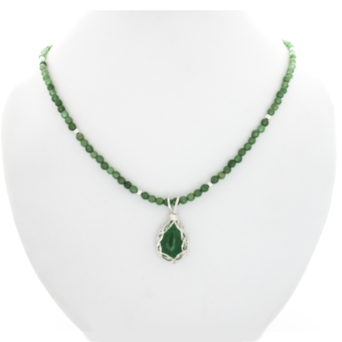 Emerald Necklace-Stering Silver Wrapped Pendant & Faceted Emerald Beads