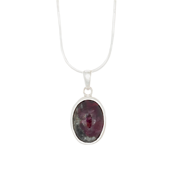 Eudialyte Oval Pendant set in Sterling Silver Chain Necklace - Finesse Jewelry