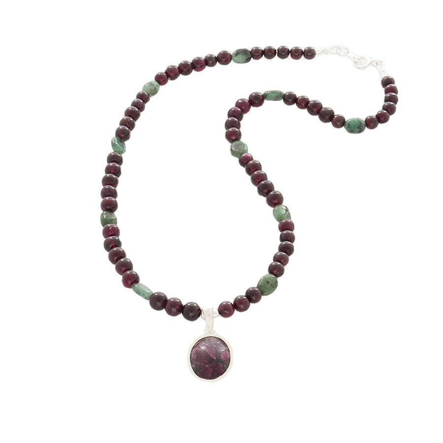 Eudialyte pendant, & Garnet & Green Agate beaded Necklace - Finesse Jewelry